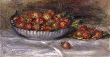 Pierre-Auguste Renoir (French, 1841-1919). <em>Still Life with Strawberries</em>, 1914. Oil on canvas, 9 5/8 x 17 5/8 in. (24.4 x 44.8 cm). Brooklyn Museum, Bequest of Alexander M. Bing, 60.29 (Photo: Brooklyn Museum, 60.29_SL1.jpg)