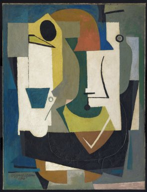 Byron Browne (American, 1907-1961). <em>Variations from a Still Life</em>, 1936-1937; reworked 1951. Oil and gouache on canvas, 46 7/8 x 36 1/16 in. (119.1 x 91.6 cm). Brooklyn Museum, Gift of Mr. and Mrs. Max Rabinowitz, 60.34. © artist or artist's estate (Photo: Brooklyn Museum, 60.34_PS6.jpg)