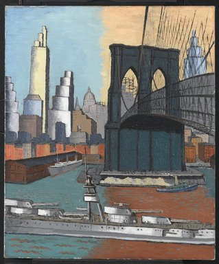 Glenn O. Coleman (American, 1884-1932). <em>Bridge Tower</em>, 1929. Oil on canvas, 30 1/8 x 25 1/8 in. (76.5 x 63.8 cm). Brooklyn Museum, Gift of Charles Simon, 60.35 (Photo: Brooklyn Museum, 60.35_PS2.jpg)