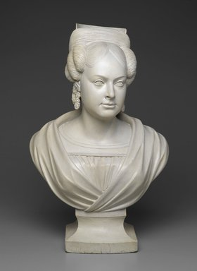 Charles J. Dodge (American, 1806-1886). <em>Mrs. Charles Dodge</em>, ca. 1830-40. Painted wood, 24 5/8 x 15 3/4 x 11 in. (62.5 x 40.0 x 27.9 cm). Brooklyn Museum, Dick S. Ramsay Fund, 60.36. Creative Commons-BY (Photo: Brooklyn Museum, 60.36_view1_PS2.jpg)