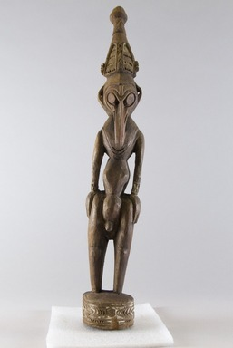 <em>Carved Human Figure</em>, 20th century. Wood, Height with base: 17 1/8 in. (43.5 cm). Brooklyn Museum, Museum Collection Fund, 60.52.9. Creative Commons-BY (Photo: Brooklyn Museum, 60.52.9_front_PS8.jpg)