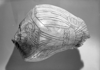 Mississippian. <em>Engraved Conch Shell</em>, 1200-1500 C.E. Conch shell, pigment, Falcon warrior: 10 7/16 × 7 1/2 × 5 1/2 in. (26.5 × 19.1 × 14 cm). Brooklyn Museum, By exchange, 60.53.1. Creative Commons-BY (Photo: Brooklyn Museum, 60.53.1_acetate_bw.jpg)