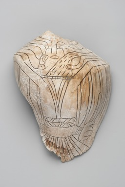 Mississippian. <em>Engraved Conch Shell</em>, 1200-1500 C.E. Conch shell, pigment, Falcon warrior: 10 7/16 × 7 1/2 × 5 1/2 in. (26.5 × 19.1 × 14 cm). Brooklyn Museum, By exchange, 60.53.1. Creative Commons-BY (Photo: , 60.53.1_view01_PS11.jpg)