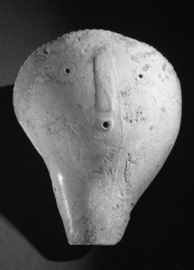 Mississippian. <em>Mask</em>, 800-1500 C.E. Conch shell, 5 7/8 x 4 3/4 in.  (15.0 x 12.0 cm). Brooklyn Museum, By exchange, 60.53.2. Creative Commons-BY (Photo: Brooklyn Museum, 60.53.2_acetate_bw.jpg)