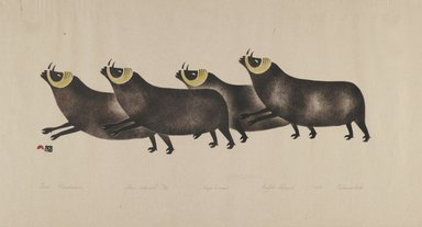 Osuitok Ipeelee (1923-2005). <em>Four Musk Oxen</em>, 1959. Stencil (sealskin), paper, 11 15/16 x 21 15/16 in. (30.3 x 55.8 cm). Brooklyn Museum, Dick S. Ramsay Fund, 60.58.2. © artist or artist's estate (Photo: Brooklyn Museum, 60.58.2_PS2.jpg)
