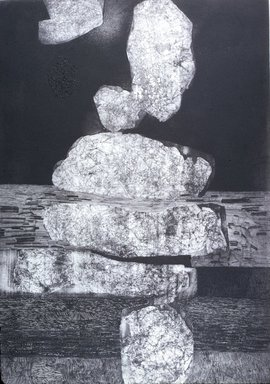 Gabor Peterdi (American, born Hungary, 1915-2001). <em>Vertical Rocks</em>, 1959. Etching, soft ground, and aquatint on paper, 32 3/4 x 22 3/4 in. Brooklyn Museum, Dick S. Ramsay Fund, 60.65. © artist or artist's estate (Photo: Brooklyn Museum, 60.65_slide_SL3.jpg)