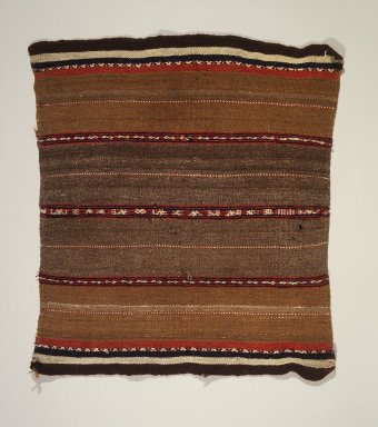 Possibly Aymara. <em>Textile</em>, late 19th - early 20th century. Camelid fiber, 18 3/4 × 22 in. (47.6 × 55.9 cm). Brooklyn Museum, Gift of the International Business Machine Corporation, 60.87.25. Creative Commons-BY (Photo: Brooklyn Museum, 60.87.25.jpg)