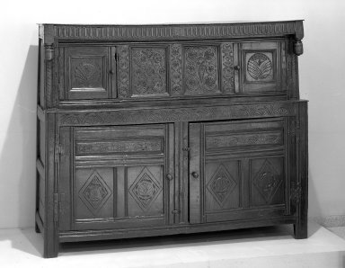 <em>Cupboard</em>, ca. 1635 (?). Oak court, 60 x 23 x 73 in. (60 in., 58.4 x 185.4 cm). Brooklyn Museum, Gift of Mrs. Cheever Porter, 61.115.1. Creative Commons-BY (Photo: Brooklyn Museum, 61.115.1_acetate_bw.jpg)