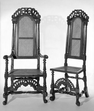 <em>High-backed Armchair</em>. Walnut Brooklyn Museum, Gift of Mrs. Cheever Porter, 61.115.5. Creative Commons-BY (Photo: , 61.115.4_61.115.5_bw.jpg)