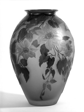 Emile Gallé (French, 1846-1904). <em>Vase</em>, Circa 1900. glass, 17 in. (43.2 cm). Brooklyn Museum, Gift of Mr. and Mrs. Samuel Schwartz, 61.116. Creative Commons-BY (Photo: Brooklyn Museum, 61.116_bw.jpg)