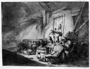 Adriaen van Ostade (Dutch, 1610-1685). <em>Peasants in a Barn</em>, 17th century. Bistre pen and ink with wash, 7 1/4 x 9 5/8 in. (18.4 x 24.4 cm). Brooklyn Museum, Gift of Dr. Lillian Malcove, 61.120.2 (Photo: Brooklyn Museum, 61.120.2_bw.jpg)