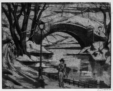 Emil Ganso (American, 1895-1941). <em>Summer Evening, Central Park</em>. Aquatint on wove paper, Plate: 7 7/8 x 10 in. (20 x 25.4 cm). Brooklyn Museum, Gift of Mrs. Mata Roudin, 61.121.4 (Photo: Brooklyn Museum, 61.121.4_bw.jpg)