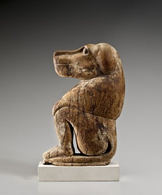 <em>Seated Baboon</em>, ca. 1539–1075 B.C.E, or 664–332B C.E. Wood, 9 x 5 1/4 x 1 9/16 in. (22.8 x 13.4 x 3.9 cm). Brooklyn Museum, Charles Edwin Wilbour Fund, 61.127. Creative Commons-BY (Photo: Brooklyn Museum (Gavin Ashworth,er), 61.127_Gavin_Ashworth_photograph.jpg)