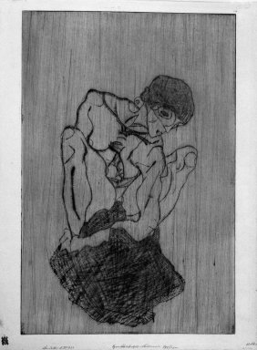 Egon Schiele (Austrian, 1890-1918). <em>Sorrow (Kümmernis)</em>, 1914 (before June 16). Drypoint in green on Japan paper, Other (Plate): 18 3/4 x 12 5/16 in. (47.6 x 31.3 cm). Brooklyn Museum, Gift of Margarete Schultz, 61.170 (Photo: Brooklyn Museum, 61.170_bw_IMLS.jpg)