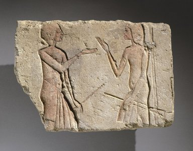<em>Conversation</em>, ca. 1352-1336 B.C.E. Limestone, pigment, 8 1/4 x 11 5/8 in. (21 x 29.5 cm). Brooklyn Museum, Charles Edwin Wilbour Fund