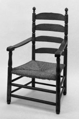 American. <em>Slatbkack Armchair</em>, ca. 1700. wood, 43 3/4 x 25 1/2 in. (111.1 x 64.8 cm). Brooklyn Museum, Gift of Mrs. Bergen Clover, 61.198.6. Creative Commons-BY (Photo: Brooklyn Museum, 61.198.6_acetate_bw.jpg)