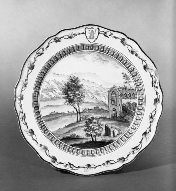 "<em>Plate</em>, 1774., 10"" dia. Brooklyn Museum, Gift of Emily Winthrop Miles, 61.199.5. Creative Commons-BY (Photo: Brooklyn Museum, 61.199.5_bw.jpg)"