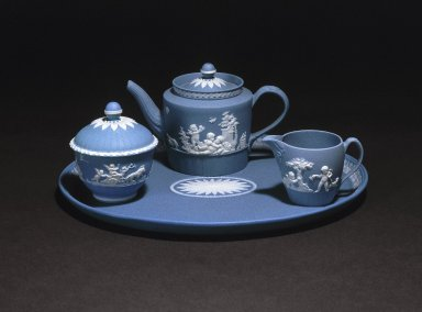 Josiah Wedgwood & Sons Ltd. (founded 1759). <em>Sugar Bowl and Lid, Part of A Jasper Tea Service</em>, ca. 1785. Tinted stoneware Brooklyn Museum, Gift of Emily Winthrop Miles, 61.199.71a-b. Creative Commons-BY (Photo: , 61.199.69_61.199.70_61.199.71_61.199.74_SL1.jpg)