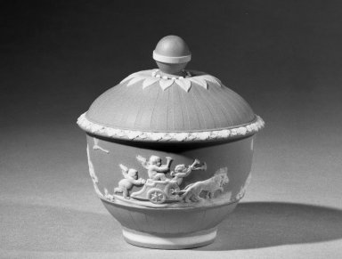 Josiah Wedgwood & Sons Ltd. (founded 1759). <em>Sugar Bowl and Lid, Part of A Jasper Tea Service</em>, ca. 1785. Tinted stoneware Brooklyn Museum, Gift of Emily Winthrop Miles, 61.199.71a-b. Creative Commons-BY (Photo: Brooklyn Museum, 61.199.71_acetate_bw.jpg)