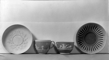 Josiah Wedgwood & Sons Ltd. (founded 1759). <em>Saucer</em>. Jasperware Brooklyn Museum, Gift of Emily Winthrop Miles, 61.199.88. Creative Commons-BY (Photo: , 61.199.87_61.199.84_61.199.75_61.199.88_acetate_bw.jpg)