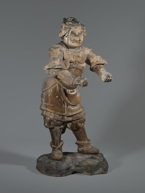 <em>Standing Figure of Buddhist Guardian</em>, 13th-14th century. Wood sculpture with traces of polychromy, 23 7/16 x 11 5/8 in. (59.5 x 29.5 cm). Brooklyn Museum, Carll H. de Silver Fund and Museum Collection Fund, 61.1. Creative Commons-BY (Photo: Brooklyn Museum, 61.1_front_PS6.jpg)