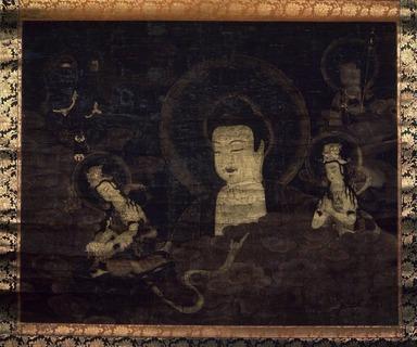 <em>Buddha Rising From Clouds</em>, 14th-15th century. Painting on silk, 41 5/16 x 52 3/16 in. (105 x 132.5 cm). Brooklyn Museum, Gift of Professor Harold G. Henderson, 61.204.1 (Photo: Brooklyn Museum, 61.204.1.jpg)