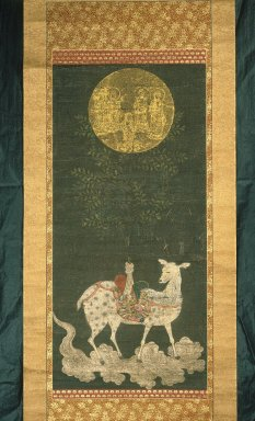 <em>Deer Mandara</em>, early 17th century. Hanging scroll, ink, color and gold on silk, Image: 34 5/8 x 15 3/8 in. (88 x 39 cm). Brooklyn Museum, Gift of Professor Harold G. Henderson, 61.204.11 (Photo: Brooklyn Museum, 61.204.11_IMLS_SL2.jpg)