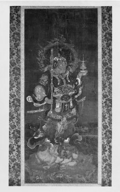 <em>Warrior Standing on Demon</em>, 14th century. Hanging scroll, ink and color on paper, Image: 30 3/16 x 12 1/2 in. (76.7 x 31.8 cm). Brooklyn Museum, Gift of Professor Harold G. Henderson, 61.204.29 (Photo: Brooklyn Museum, 61.204.29_bw_IMLS.jpg)
