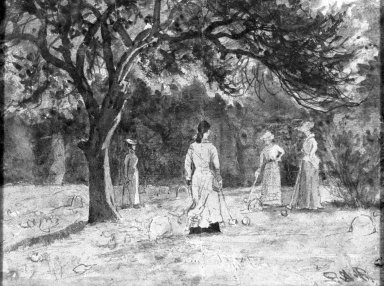 Ralph Albert Blakelock (American, 1847-1919). <em>Croquet Game</em>. Watercolor Brooklyn Museum, Gift of Ferdinand Davis, 61.206 (Photo: Brooklyn Museum, 61.206_acetate_bw.jpg)