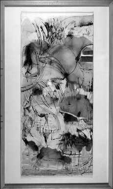 Worden Day (American, 1916-1986). <em>Magnetic Tide</em>, 1961. Drawing with collage and ink on paper, 36 x 16 1/8 in. (91.4 x 41 cm). Brooklyn Museum, Dick S. Ramsay Fund, 61.213. © artist or artist's estate (Photo: Brooklyn Museum, 61.213_acetate_bw.jpg)