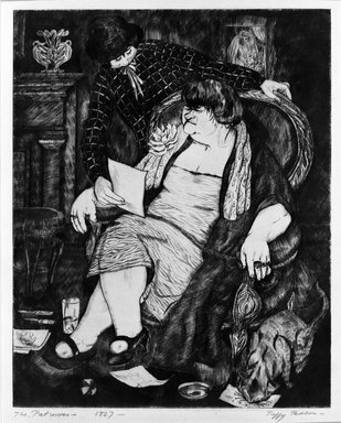 Peggy Bacon (American, 1895-1987). <em>The Patroness</em>, 1927. Etching & drypoint on wove paper, 9 13/16 x 8 in. (25 x 20.3 cm). Brooklyn Museum, Dick S. Ramsay Fund, 61.216.2. © artist or artist's estate (Photo: Brooklyn Museum, 61.216.2_bw.jpg)