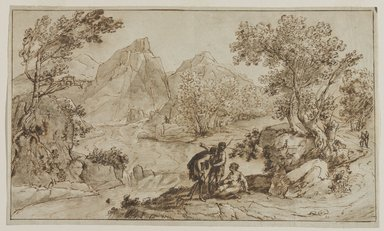 Attributed to Claude Gellée called Claude Lorrain (French, ca. 1604-1682). <em>[Untitled] (Study of a Landscape)</em>. Ink and wash on antique laid paper, sheet: 8 11/16 x 14 11/16 in. (22.1 x 37.3 cm). Brooklyn Museum, Gift of Isabel Shults, 61.230.1 (Photo: Brooklyn Museum, 61.230.1_PS9.jpg)