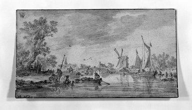 Jan van Goyen (Dutch, 1596-1656). <em>River Scene</em>, 1652. Graphite on paper, 4 3/4 x 8 1/4in. (12.1 x 21cm). Brooklyn Museum, Gift of Isabel Shults, 61.230.2 (Photo: Brooklyn Museum, 61.230.2_bw.jpg)