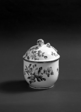 Mennecy Pottery Factory. <em>Honey Jar with Cover</em>, ca. 1745. Porcelain, 4 in. (10.2 cm). Brooklyn Museum, Gift of Pearl and Donald S. Morrison, 61.232.18a-b. Creative Commons-BY (Photo: Brooklyn Museum, 61.232.18a-b_acetate_bw.jpg)