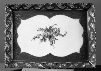Sevres. <em>Tray</em>, 1758. Porcelain, 9 1/2 in. (24.1 cm). Brooklyn Museum, Gift of Pearl and Donald S. Morrison, 61.232.3. Creative Commons-BY (Photo: Brooklyn Museum, 61.232.3_acetate_bw.jpg)