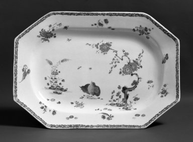 <em>Plate</em>, 1755. Porcelain, 9 x 13 in. (22.9 x 33 cm). Brooklyn Museum, Gift of Pearl and Donald S. Morrison, 61.232.5. Creative Commons-BY (Photo: Brooklyn Museum, 61.232.5_acetate_bw.jpg)