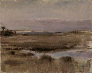 Edwin Dickinson (American, 1891-1978). <em>View of Great Island</em>, ca. 1940. Oil on canvas, 15 1/4 x 19 1/8 in. (38.7 x 48.6 cm). Brooklyn Museum, Gift of John R. H. Blum, 61.32. © artist or artist's estate (Photo: Brooklyn Museum, 61.32_transp3743.jpg)