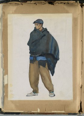 Edward Penfield (American, 1866-1925). <em>Spanish Sketch Mounted in Scrap Book</em>, ca. 1911. Watercolor and graphite on paper mounted in scrap book, sheet: 9 1/4 x 7 in. (23.5 x 17.8 cm). Brooklyn Museum, Gift of the Enoch Pratt Free Library, 61.36.11 (Photo: Brooklyn Museum, 61.36.11_PS2.jpg)