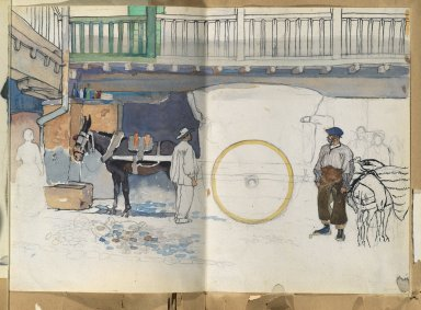 Edward Penfield (American, 1866-1925). <em>Spanish Sketch Mounted in Scrap Book</em>, ca. 1911. Watercolor and graphite on paper mounted in scrap book, sheet (unfolded): 9 1/4 x 13 1/8 in. (23.5 x 33.3 cm). Brooklyn Museum, Gift of the Enoch Pratt Free Library, 61.36.12 (Photo: Brooklyn Museum, 61.36.12_PS2.jpg)