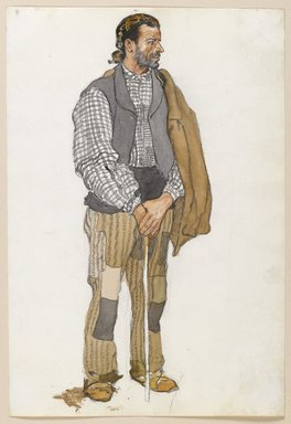 Edward Penfield (American, 1866-1925). <em>Sketch of a Spanish Man</em>, 1906. Watercolor and graphite on paper mounted in scrap book, sheet: 11 5/16 x 7 11/16 in. (28.7 x 19.5 cm). Brooklyn Museum, Gift of the Enoch Pratt Free Library, 61.36.2 (Photo: Brooklyn Museum, 61.36.2_PS6.jpg)