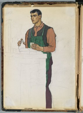 Edward Penfield (American, 1866-1925). <em>Spanish Sketch Mounted in Scrap Book</em>, ca. 1911. Watercolor and graphite on paper mounted in scrap book, sheet: 11 1/4 x 8 1/16 in. (28.6 x 20.5 cm). Brooklyn Museum, Gift of the Enoch Pratt Free Library, 61.36.5 (Photo: Brooklyn Museum, 61.36.5_PS2.jpg)