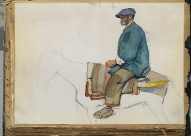 Edward Penfield (American, 1866-1925). <em>Spanish Sketch Mounted in Scrap Book</em>, ca. 1911. Watercolor and graphite on paper mounted in scrap book, sheet: 8 x 11 1/16 in. (20.3 x 28.1 cm). Brooklyn Museum, Gift of the Enoch Pratt Free Library, 61.36.6 (Photo: Brooklyn Museum, 61.36.6_PS2.jpg)