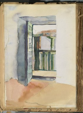 Edward Penfield (American, 1866-1925). <em>Spanish Sketch Mounted in Scrap Book</em>, ca. 1911. Watercolor and graphite on paper mounted in scrap book, sheet: 11 1/4 x 7 11/16 in. (28.6 x 19.5 cm). Brooklyn Museum, Gift of the Enoch Pratt Free Library, 61.36.8 (Photo: Brooklyn Museum, 61.36.8_PS2.jpg)