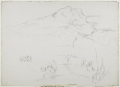 Marsden Hartley (American, 1877-1943). <em>Mont Sainte-Victoire</em>, 1926-1927. Graphite on thick, roughly textured, cream-colored wove paper, Sheet: 22 5/8 x 31 3/16 in. (57.5 x 79.2 cm). Brooklyn Museum, Dick S. Ramsay Fund, 61.4.1. © artist or artist's estate (Photo: Brooklyn Museum, 61.4.1_PS6.jpg)