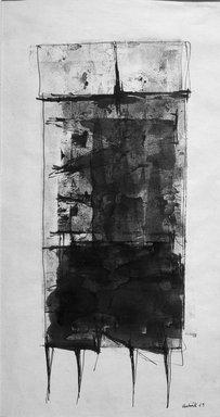 Lynn Chadwick (British, 1914-2003). <em>Sketch for Conjunction</em>, 1959. Watercolor, 20 3/4 x 11 in.  (52.7 x 27.9 cm). Brooklyn Museum, Charles Stewart Smith Memorial Fund, 61.58. © artist or artist's estate (Photo: Brooklyn Museum, 61.58_acetate_bw.jpg)