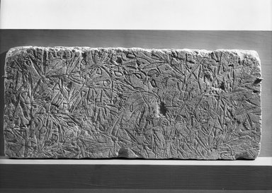 <em>Relief of Vetch Plant</em>, ca. 1352-1336 B.C.E. Limestone, pigment, 9 x 20 11/16 in. (22.8 x 52.5 cm). Brooklyn Museum, Charles Edwin Wilbour Fund, 61.86. Creative Commons-BY (Photo: Brooklyn Museum, 61.86_NegB_film_bw_SL4.jpg)