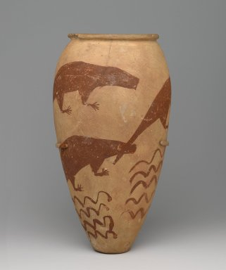 <em>Vase with Painted Animals</em>, ca. 3300-3100 B.C.E. Clay, slip, 13 x Diam. 7 in. (33 x 17.8 cm). Brooklyn Museum, Charles Edwin Wilbour Fund, 61.87. Creative Commons-BY (Photo: Brooklyn Museum, 61.87_front_PS6.jpg)