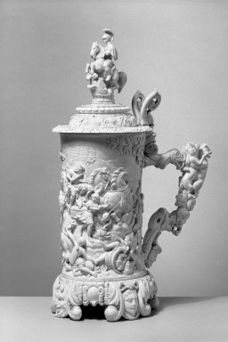 <em>Flagon</em>, ca. 1870-1890. Ivory, copper, 19 x 11 x 7 1/2 in. (48.3 x 27.9 x 19.1 cm). Brooklyn Museum, Gift of Ferdinand R. Stirn, 62.104.3a. Creative Commons-BY (Photo: Brooklyn Museum, 62.104.3a_acetate_bw.jpg)