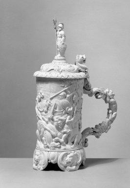 <em>Flagon</em>, ca. 1870-1890. Ivory, copper, 12 1/2 x 4 1/2 x 4 in. (31.8 x 11.4 x 10.2 cm). Brooklyn Museum, Gift of Ferdinand R. Stirn, 62.104.3b. Creative Commons-BY (Photo: Brooklyn Museum, 62.104.3b_acetate_bw.jpg)