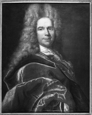 School of Francois de Troy (French, 1645-1730). <em>Portrait of a Gentleman</em>. Oil on canvas, 31 1/2 x 25 1/2 in.  (80.0 x 64.8 cm). Brooklyn Museum, Gift of Mrs. Henry L. Moses, 62.107.2 (Photo: Brooklyn Museum, 62.107.2_acetate_bw.jpg)